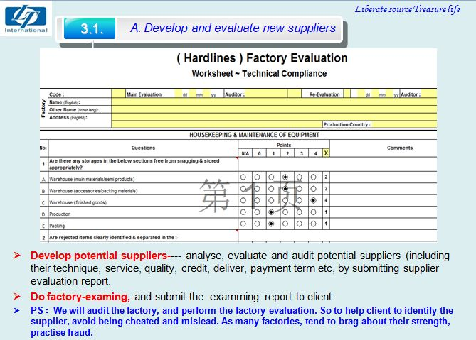 Service A-Develop & Evaluate new supplier